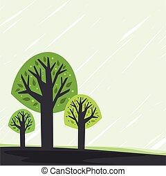stylizowany, drzewo.