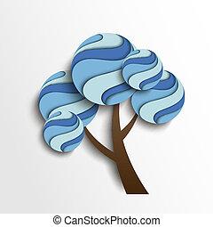 stylizowany, drzewo zima