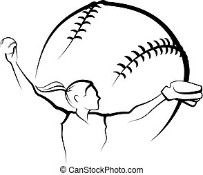 stylizowany, dzban, softball