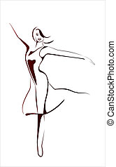 stylizowany, dziewczyna, ilustracja, taniec