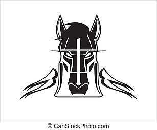 stylizowany, dziki koń, głowa