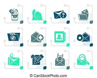 stylizowany, e-wysyłają pocztą wiadomość, ikony