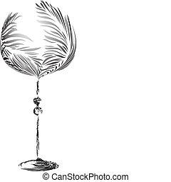stylizowany, elegancki, kieliszek do wina