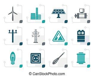 stylizowany, elektryczność, moc, ikony