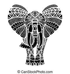 stylizowany, elephant., czarnoskóry