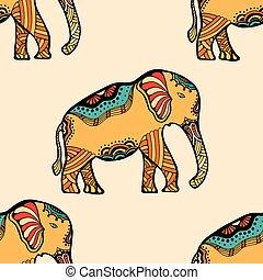 stylizowany, elephant., indianin