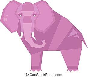 stylizowany, elephant., wektor, ilustracja