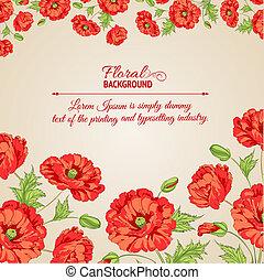 stylizowany, flowers., karta, mak