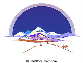 stylizowany, góry, wektor, ilustracja