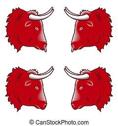 stylizowany, głowa, projektować, czerwony, byk