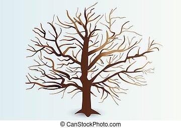 stylizowany, gałęzie, drzewo, logo