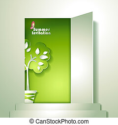 stylizowany, garnek, drzewo, karta