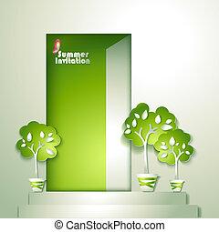 stylizowany, garnek, karta, drzewa