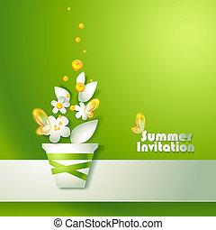 stylizowany, garnek, kwiaty, karta