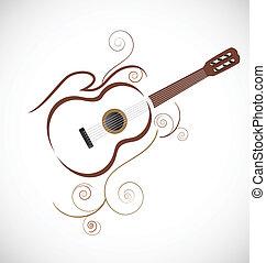 stylizowany, gitara, wektor, logo
