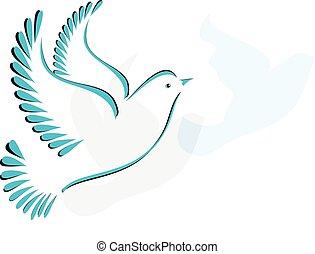 stylizowany, gołębica, albo, ptak