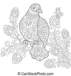 stylizowany, gołębica, ptak, zentangle