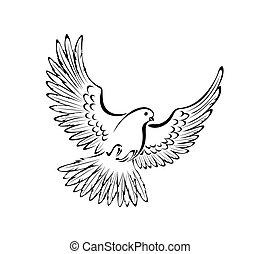 stylizowany, gołębica