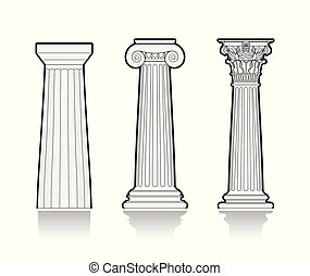 stylizowany, greckie kolumny