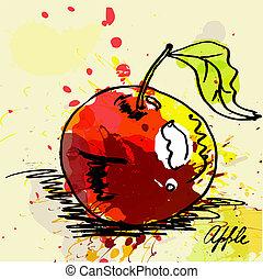 stylizowany, grunge, jabłko, tło