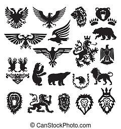 stylizowany, heraldyczny, wektor, symbol