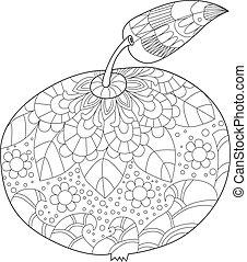 stylizowany, jabłko, hand-draw, zentangle