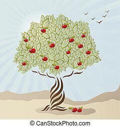 stylizowany, jednorazowy, drzewo, jabłko