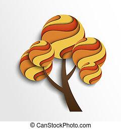 stylizowany, jesień, drzewo.