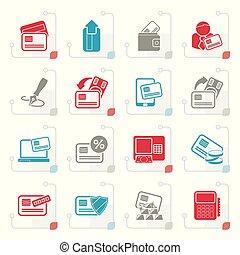 stylizowany, karta, atm, pos, terminal, kredyt, ikony