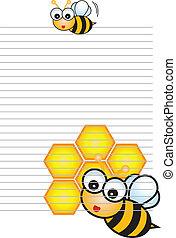 stylizowany, karta, pszczoła