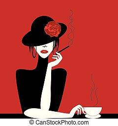 stylizowany, kawa, kobieta, cygaro, filiżanka