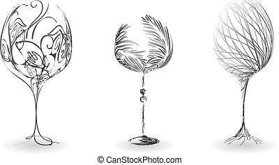 stylizowany, komplet, wino, szkic, okulary
