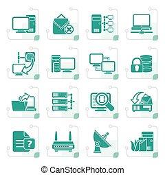 stylizowany, komputer, internet, sieć, ikony