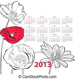 stylizowany, kwiaty, ilustracja