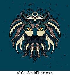 stylizowany, lew, głowa