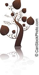 stylizowany, liście, drzewo