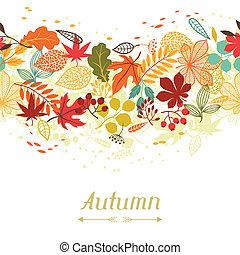 stylizowany, liście, powitanie, jesień, tło, karcięta.