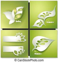 stylizowany, liście, wektor, karta