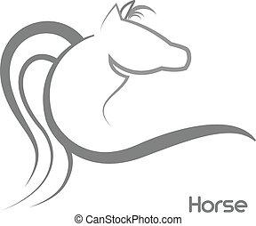 stylizowany, logo, koń
