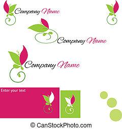 stylizowany, logo, kwiat