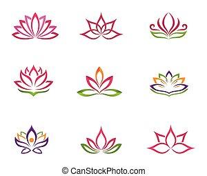 stylizowany, logo, lotos