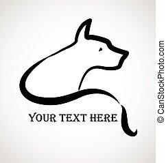 stylizowany, logo, pies