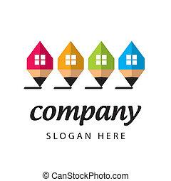 stylizowany, logo, towarzystwo, zbudowanie