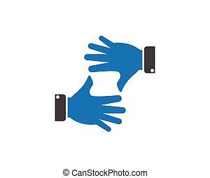 stylizowany, logo, wektor, -, ręka