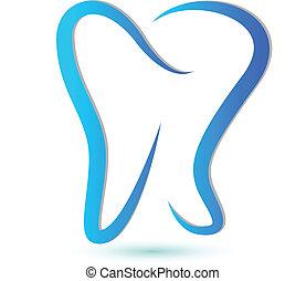 stylizowany, logo, ząb