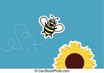 stylizowany, mały, słonecznik, pszczoła