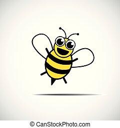 stylizowany, mały, szczęśliwy, pszczoła