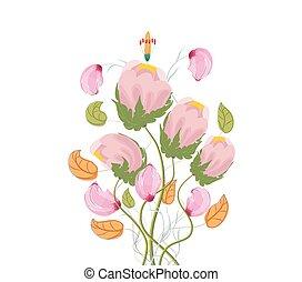 stylizowany, mak, akwarela, kwiaty