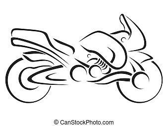 stylizowany, motocykl, wektor, illustra