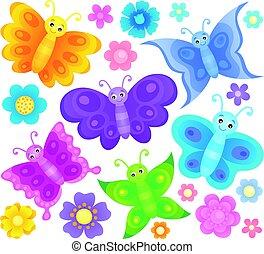 stylizowany, motyle, komplet, temat, 3